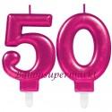 Zahlenkerzen Pink Celebration 50, Kerzen zum 50. Geburtstag und Jubiläum