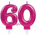 Zahlenkerzen Pink Celebration 60, Kerzen zum 60. Geburtstag und Jubiläum