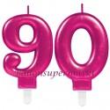 Zahlenkerzen Pink Celebration 90, Kerzen zum 90. Geburtstag und Jubiläum