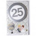 Geschenkkarte mit Button zur Silbernen Hochzeit, Super 25 Jahre, mit Umschlag
