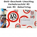 Großer Geld-Geschenk-Umschlag zum 40. Geburtstag