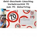 Großer Geld-Geschenk-Umschlag zum 70. Geburtstag