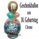Geschenkballon zum 18. Geburtstag, Happy Birthday Chrome