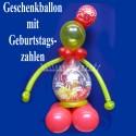 Geschenkballon, Geburtstag, Ballonfigur mit Geburtstagszahl