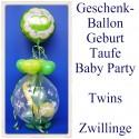 Geschenkballon, Geburt, Taufe, Baby Party, Twins, Zwillinge