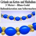 Ballongirlande zum Selbermachen, Ballondekoration aus Kettenballons in Blau-Gold, 3 Meter