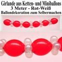 Ballongirlande zum Selbermachen, Ballondekoration aus Kettenballons in Rot-Weiß, 3 Meter