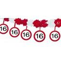 Geburtstagsgirlande zum 16. Geburtstag, Verkehrsschilder 16