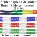 25 Girlanden zu Karneval und Fasching, 4 m, Farben: Bunt, Rot-Weiß, Grün-Weiß, Blau-Weiß