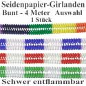1 Girlande zu Karneval und Fasching, 4 m, Farben: Bunt, Rot-Weiß, Grün-Weiß, Blau-Weiß