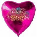 Girls Night Out, Herzluftballon in Pink mit Ballongas-Helium, Junggesellinnenabschied