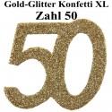 Konfetti XL Tischdekoration Zahl 50, Gold-Glitzer