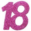 Zahlendeko Konfetti, Pink Glitter, Zahl 18