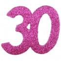 Zahlendeko Konfetti, Pink Glitter, Zahl 30