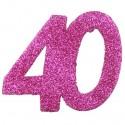 Zahlendeko Konfetti, Pink Glitter, Zahl 40