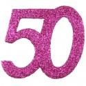 Zahlendeko Konfetti, Pink Glitter, Zahl 50