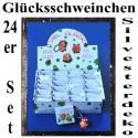 Silvester Dekoration, Glücksschweinchen in Geschenktütchen, 24er Sortiment