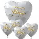 Goldene Hochzeit, Bouquet aus weißen Herzballons aus Folie mit Helium, 50 mit Herzen in Gold
