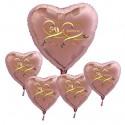 Goldene Hochzeit, Bouquet aus rosegoldenen Herzballons aus Folie mit Helium, 50 Jahre