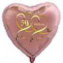 Goldene Hochzeit, rosegoldener Herzballon aus Folie, 50 Jahre
