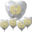 Goldene Hochzeit, Bouquet aus weißen Herzballons aus Folie mit Helium, 50 mit goldenem Kranz und Herzen