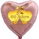 Goldene Hochzeit, rosegoldener Herzballon aus Folie mit Helium, 50 Jahre Glücklich Verheiratet!