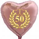 Goldene Hochzeit, rosegoldener Herzballon aus Folie ohne Helium, 50 mit goldenem Kranz und Herzen