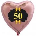 Goldene Hochzeit, rosegoldener Herzballon aus Folie mit Helium, 50 mit goldenen Schleifen