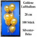 Luftballons Gold, 28 cm, 100 Stück