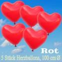 Herzluftballons 100 cm, Rot, 5 Stück