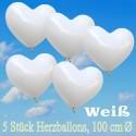 Herzluftballons 100 cm, Weiß, 5 Stück