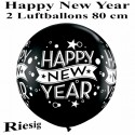 Riesige Luftballons Silvester, Motiv: Happy New Year, schwarz, 80 cm, 2 Stück