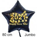 """Großer Silvester-Sternballon aus Folie, 2021 """"Happy New Year"""" mit Helium gefüllt"""