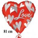 Love, großer Herzluftballon aus Folie mit Helium