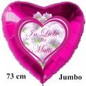 In Liebe für Mutti. Herzluftballon in Pink aus Folie mit Ballongas-Helium zum Muttertag