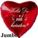 """Großer Jumbo Herzluftballon in Rot. """"Willst Du mich heiraten?"""" Inklusive Helium"""