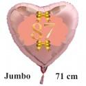 Großer Herzluftballon Roségold zum 87. Geburtstag, 71 cm, Rosa-Gold