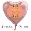 Großer Herzluftballon Roségold zum 88. Geburtstag, 71 cm, Rosa-Gold