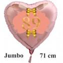 Großer Herzluftballon Roségold zum 89. Geburtstag, 71 cm, Rosa-Gold