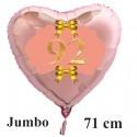 Großer Herzluftballon Roségold zum 92. Geburtstag, 71 cm, Rosa-Gold