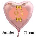 Großer Herzluftballon Roségold zum 93. Geburtstag, 71 cm, Rosa-Gold