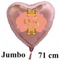 Großer Herzluftballon Roségold zum 95.Geburtstag, 71 cm, Rosa-Gold