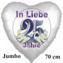 Großer Herzluftballon aus Folie. In Liebe - 25 Jahre zur Silberhochzeit, Satinweiß, inklusive Helium-Ballongas