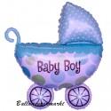 Baby-Boy Kinderwagen, großer Babywagen-Folienballon zu Geburt, Taufe, Babyparty