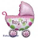 Luftballon Baby-Girl Kinderwagen, großer Babywagen-Folienballon mit Ballongas zu Geburt, Taufe, Babyparty