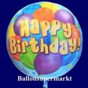Happy Birthday Balloons, großer Folienballon, Rundballon, mit Helium zum Geburtstag