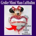 Happy Birthday Folienballon, große Minni Maus mit Buchstaben und Zahlen zum Einkleben, ohne Helium zu Geburtstag und Kindergeburtstag