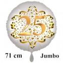 Jumbo Luftballon aus Folie zum 25. Geburtstag, Satin Weiß, 71 cm, rund, inklusive Helium