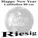 Riesiger Luftballon Silvester, Motiv: Happy New Year, silber, 80 cm