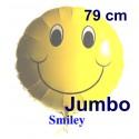 Luftballon Smiley, großer Folienballon mit Ballongas